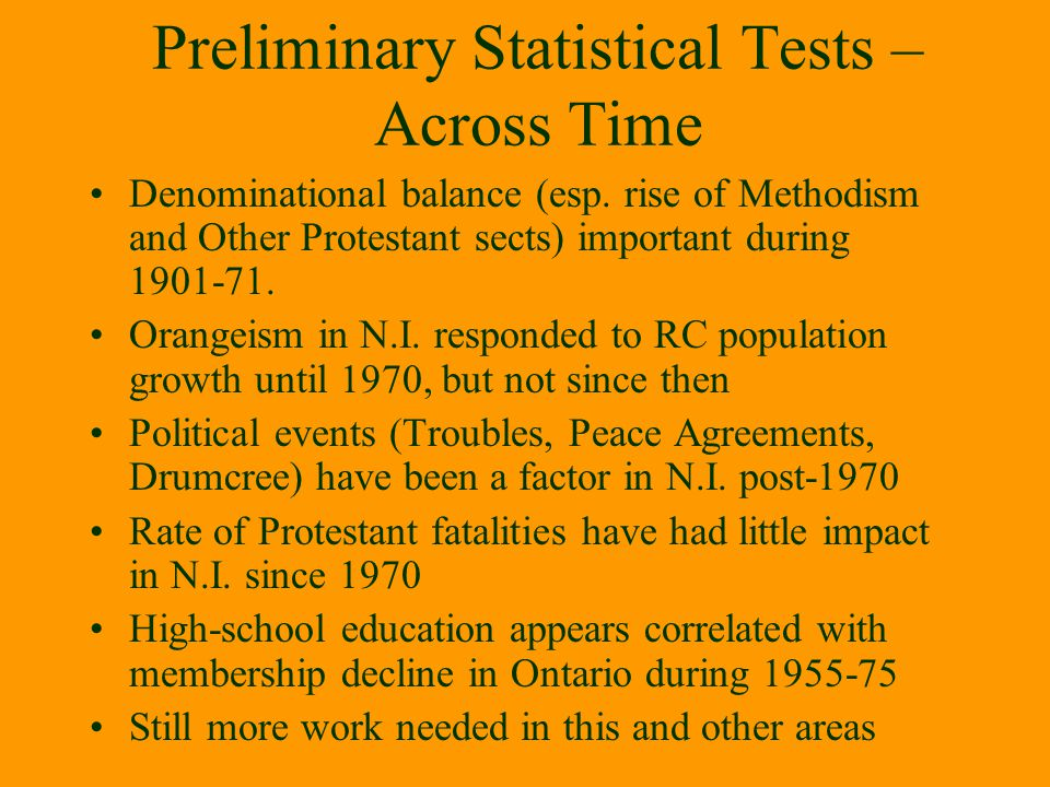 Preliminary Statistical Tests – Across Time
