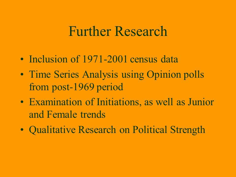 Further Research Inclusion of 1971-2001 census data
