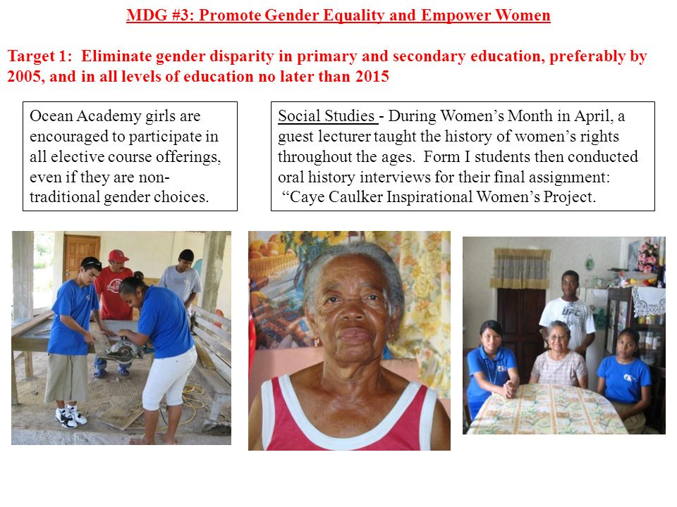 MDG #3: Promote Gender Equality and Empower Women