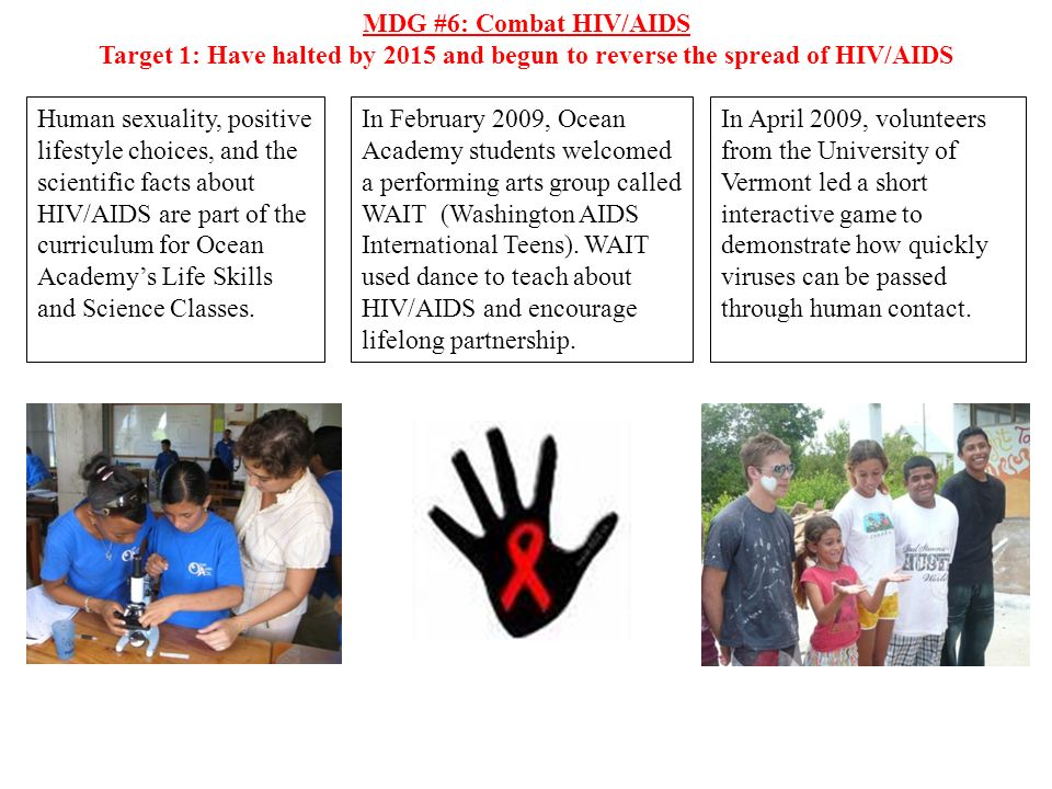 MDG #6: Combat HIV/AIDSTarget 1: Have halted by 2015 and begun to reverse the spread of HIV/AIDS.