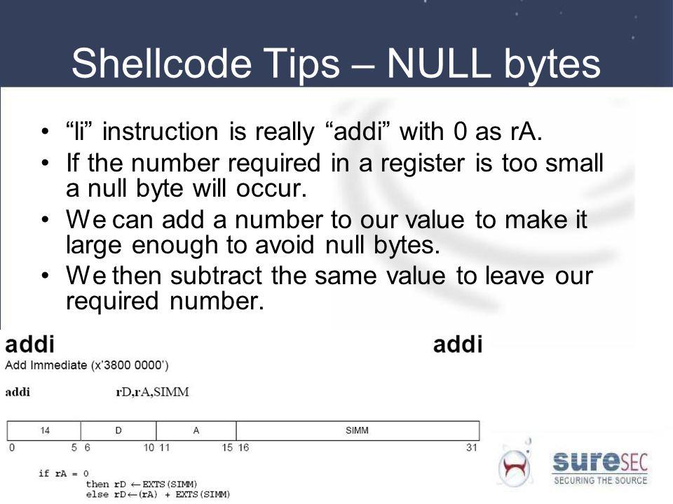 Shellcode Tips – NULL bytes