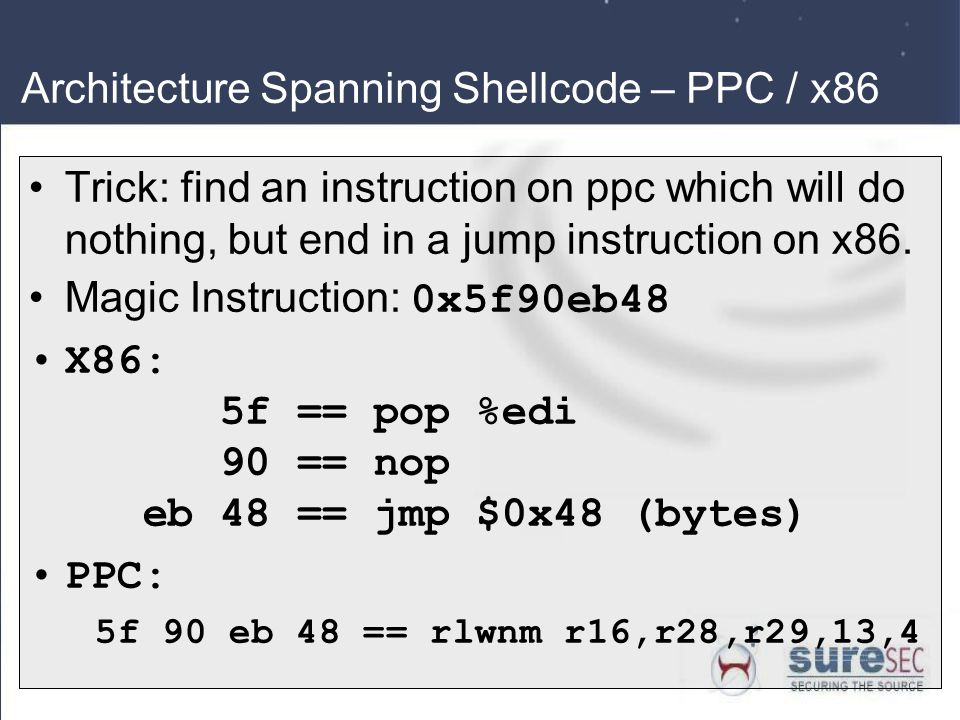 Architecture Spanning Shellcode – PPC / x86