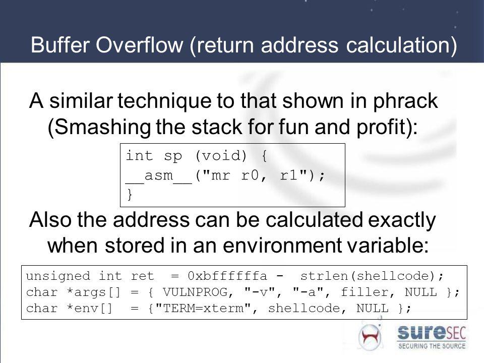 Buffer Overflow (return address calculation)