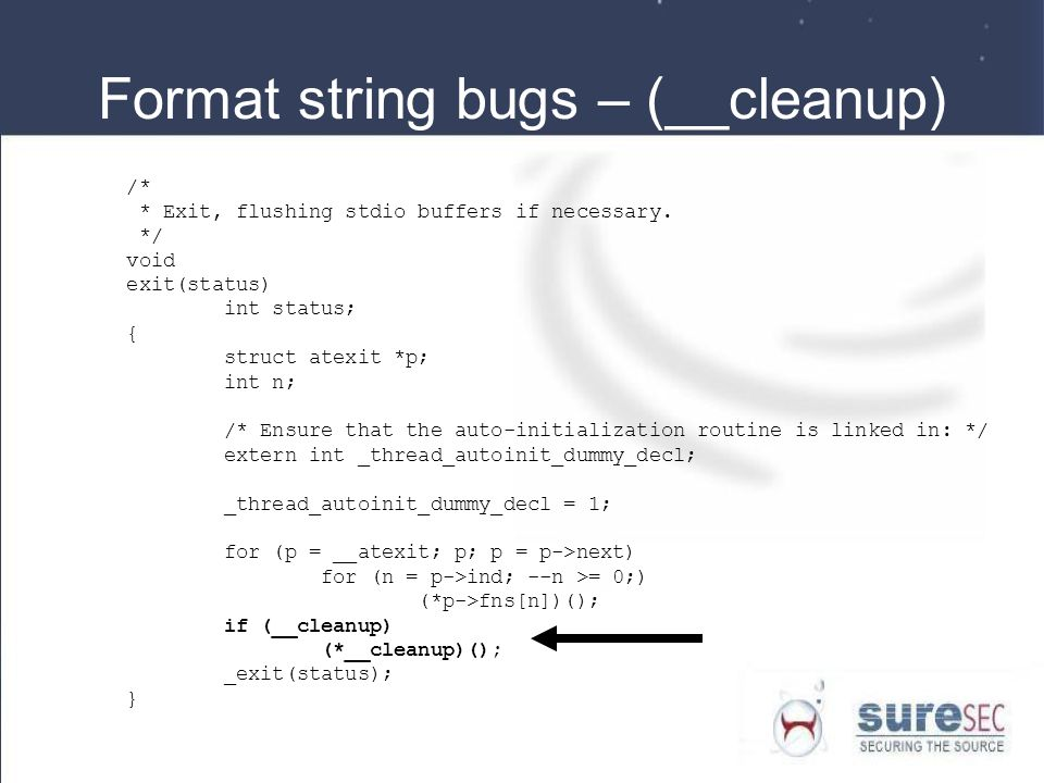 Format string bugs – (__cleanup)
