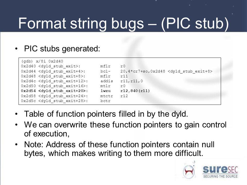 Format string bugs – (PIC stub)