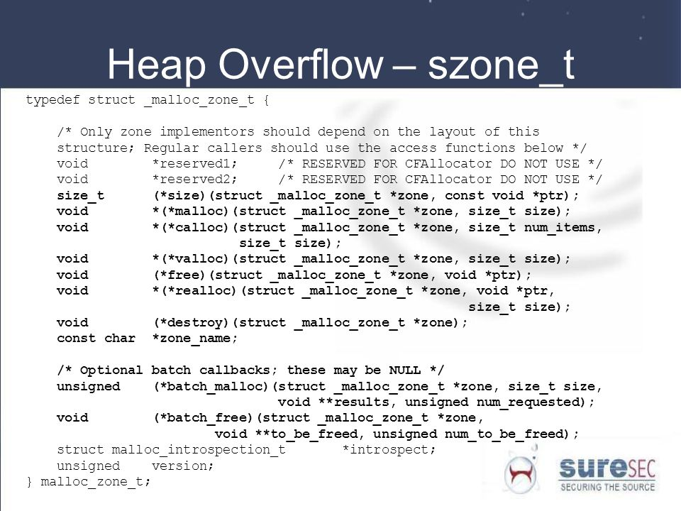 Heap Overflow – szone_t