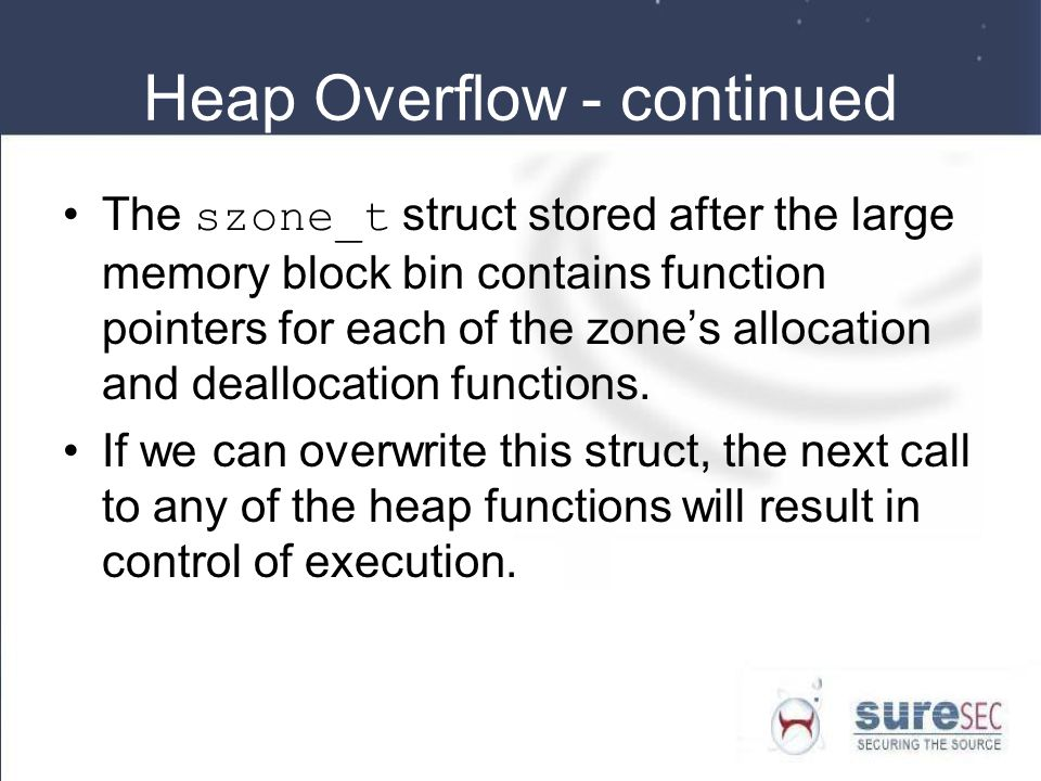 Heap Overflow - continued