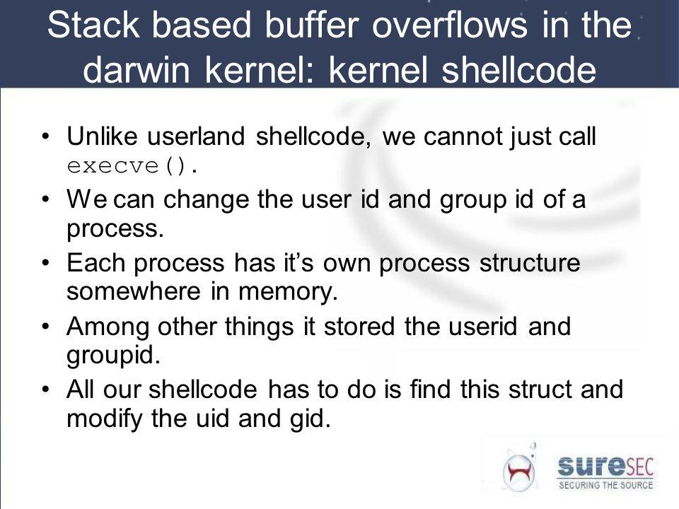 Stack based buffer overflows in the darwin kernel: kernel shellcode