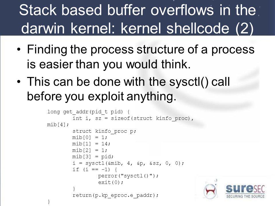 Stack based buffer overflows in the darwin kernel: kernel shellcode (2)
