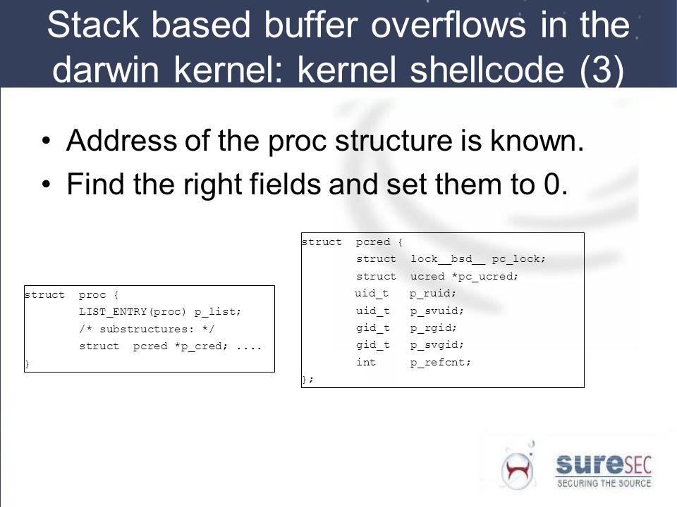 Stack based buffer overflows in the darwin kernel: kernel shellcode (3)