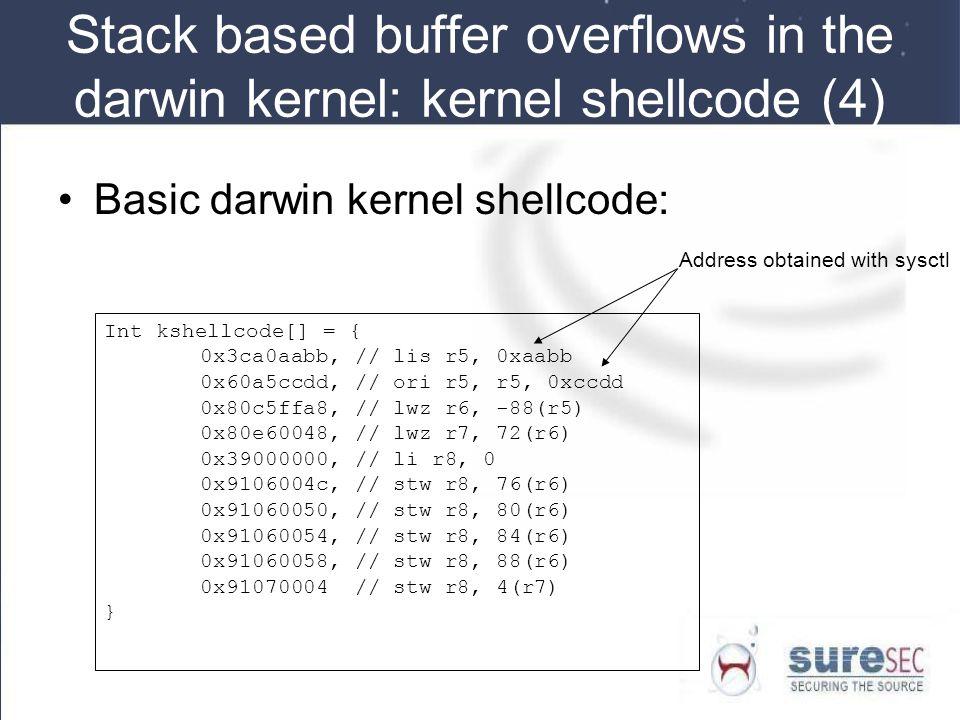 Stack based buffer overflows in the darwin kernel: kernel shellcode (4)