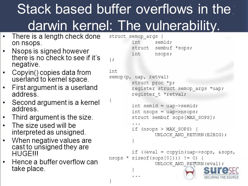 Stack based buffer overflows in the darwin kernel: The vulnerability.