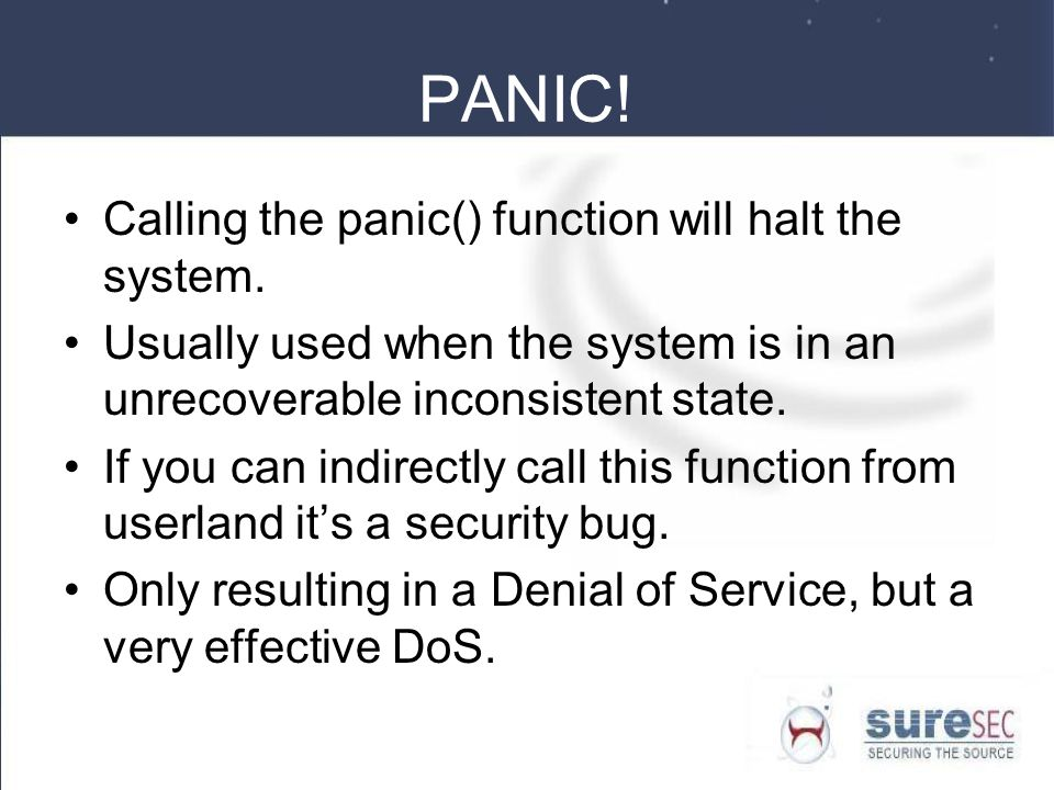 PANIC! Calling the panic() function will halt the system.