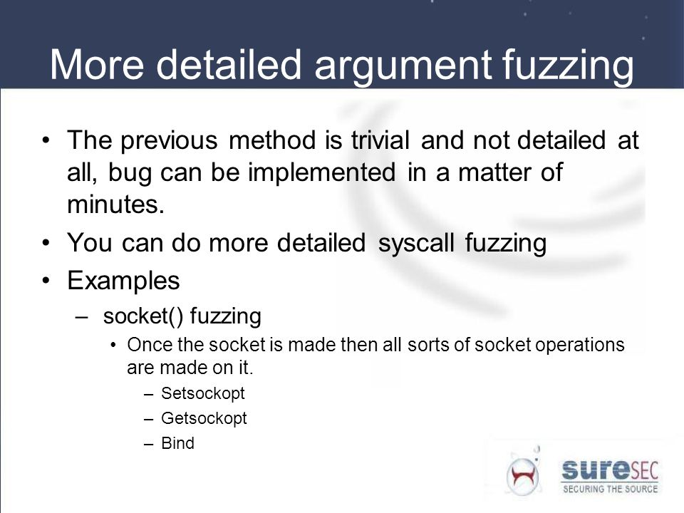 More detailed argument fuzzing