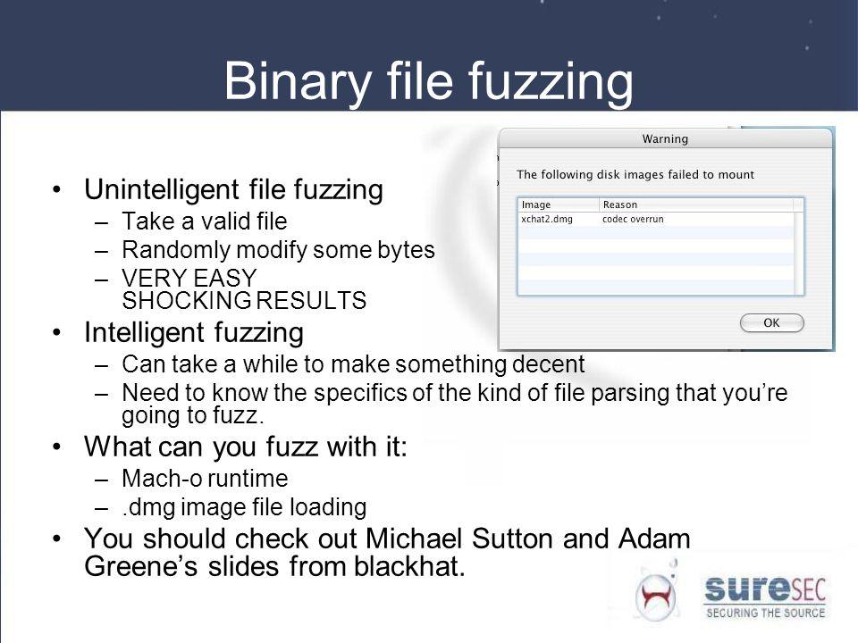Binary file fuzzing Unintelligent file fuzzing Intelligent fuzzing