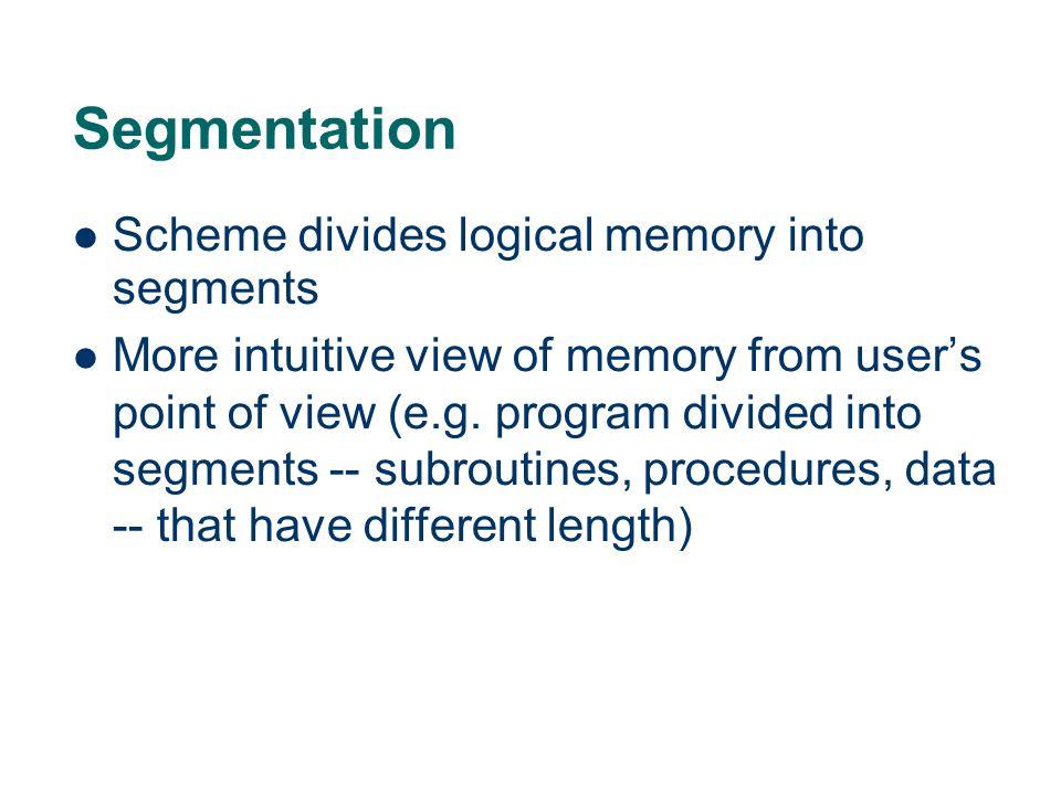 Segmentation Scheme divides logical memory into segments