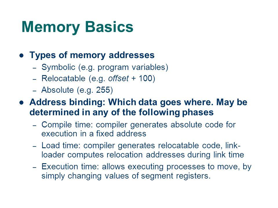 Memory Basics Types of memory addresses