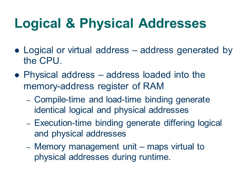 Logical & Physical Addresses
