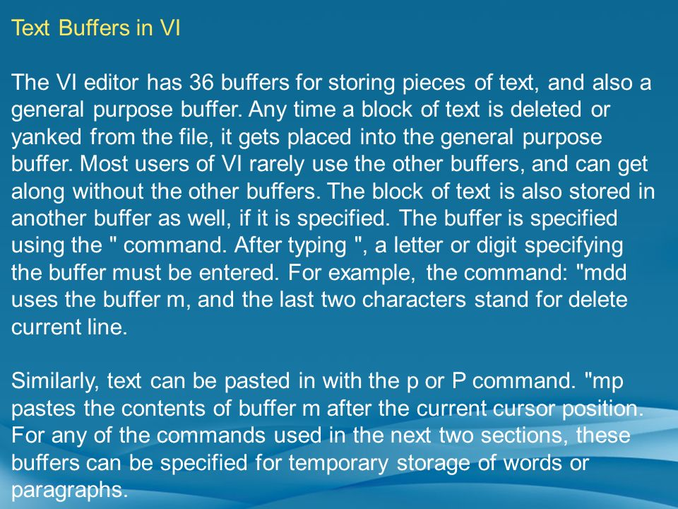 Text Buffers in VI