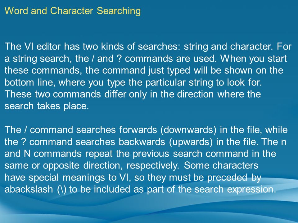 Word and Character Searching