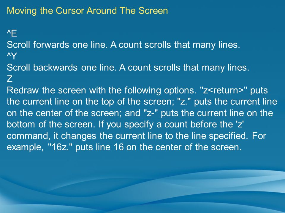 Moving the Cursor Around The Screen