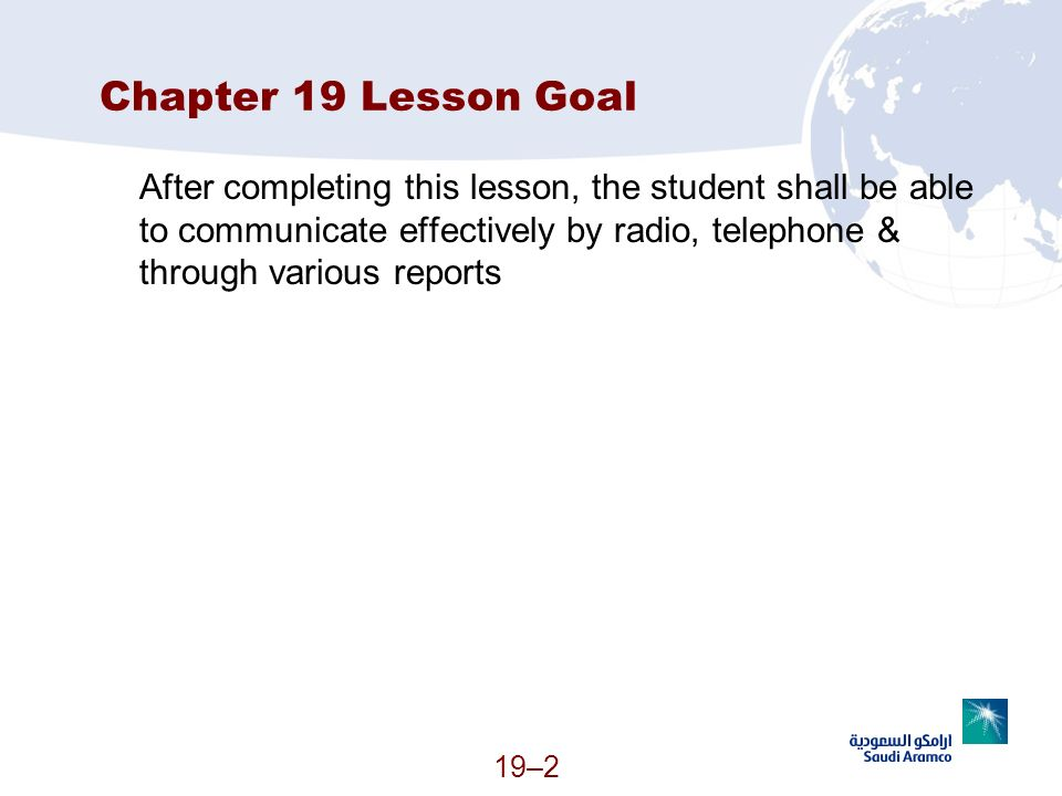Chapter 19 Lesson Goal