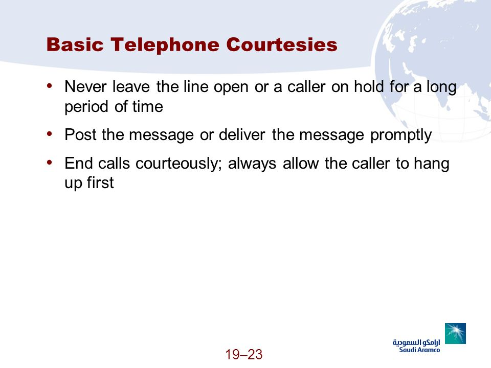 Basic Telephone Courtesies