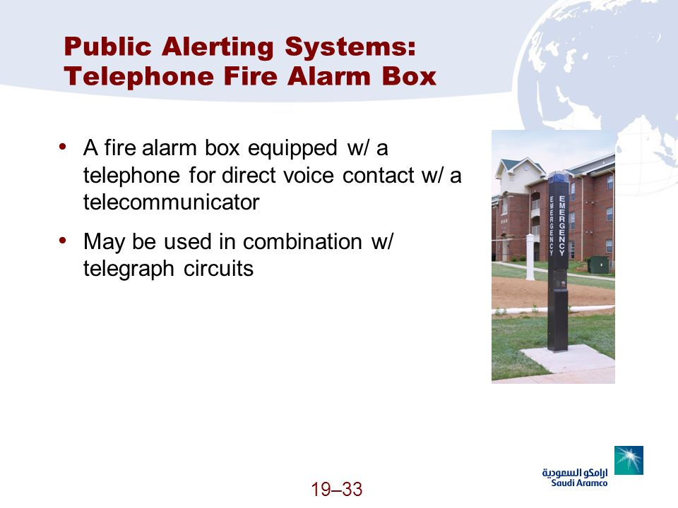 Public Alerting Systems: Telephone Fire Alarm Box