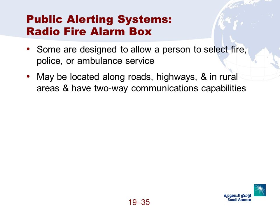 Public Alerting Systems: Radio Fire Alarm Box