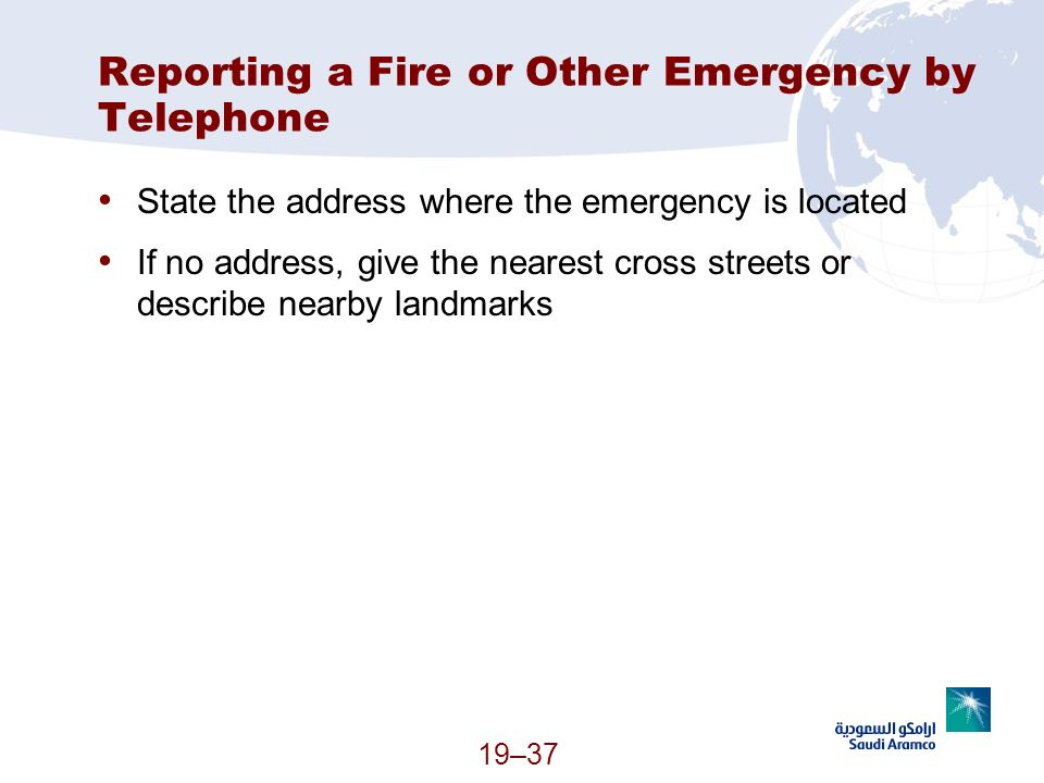 Reporting a Fire or Other Emergency by Telephone