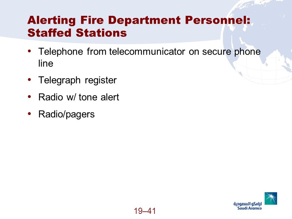 Alerting Fire Department Personnel: Staffed Stations