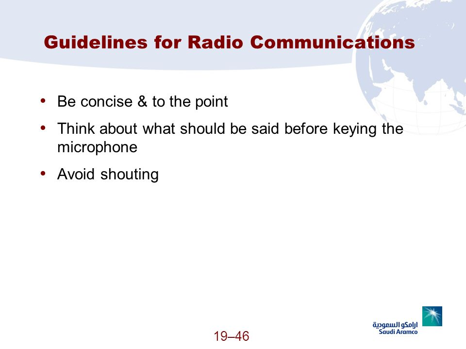 Guidelines for Radio Communications