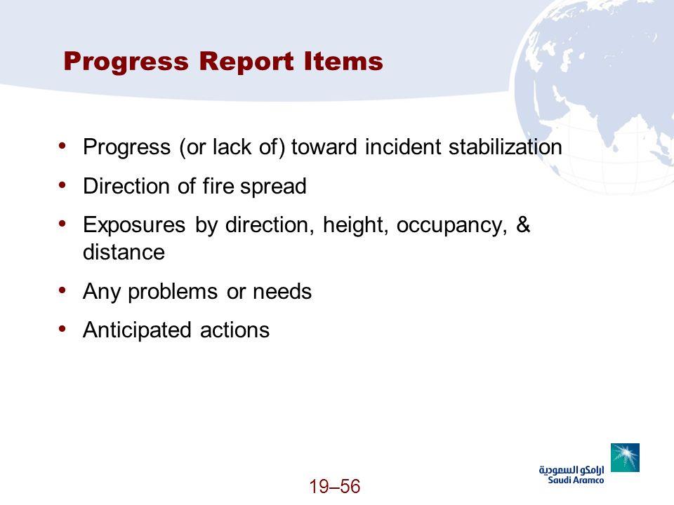 Progress Report Items Progress (or lack of) toward incident stabilization. Direction of fire spread.