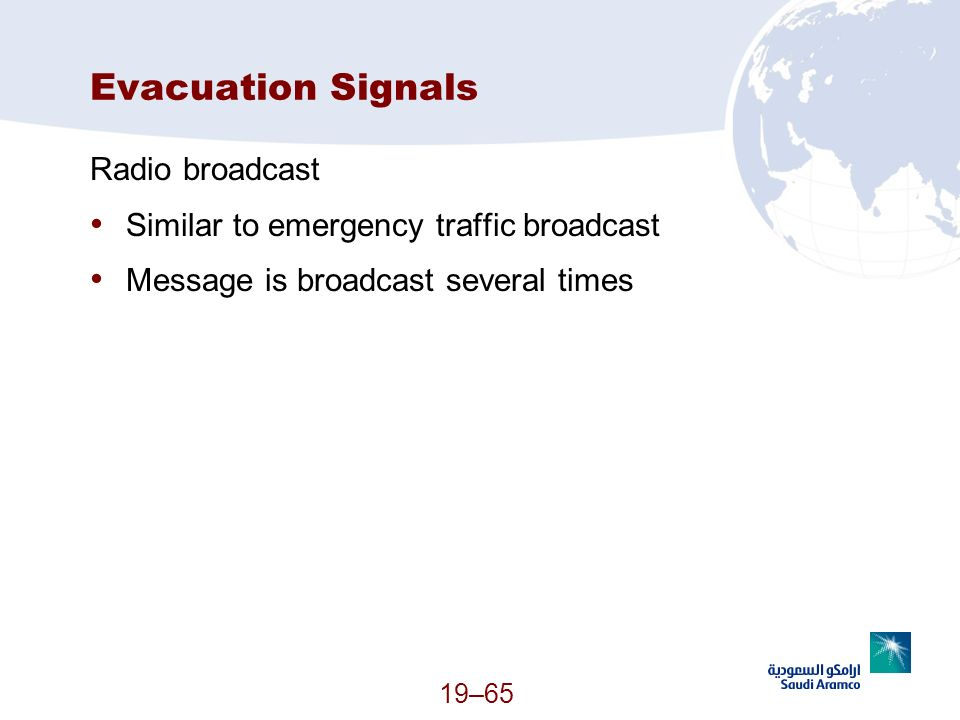 Evacuation Signals Radio broadcast