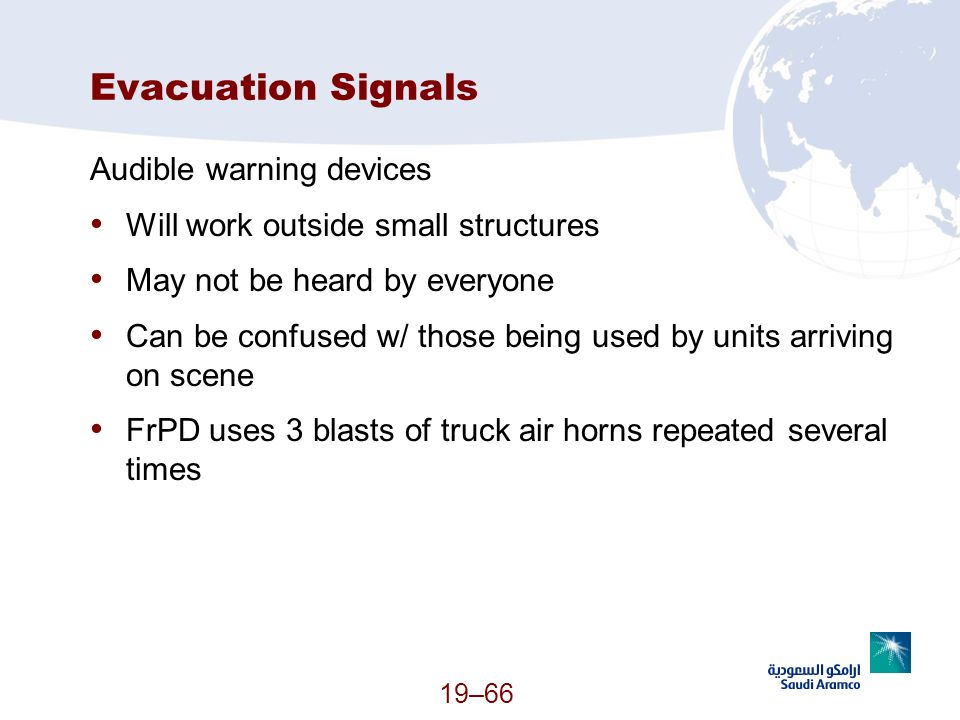 Evacuation Signals Audible warning devices