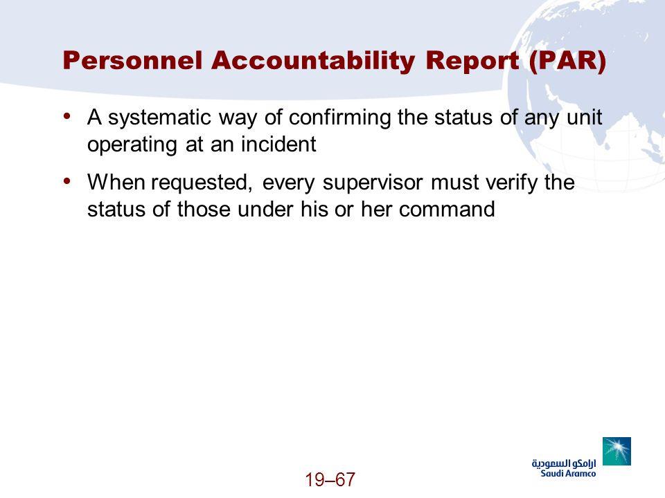 Personnel Accountability Report (PAR)
