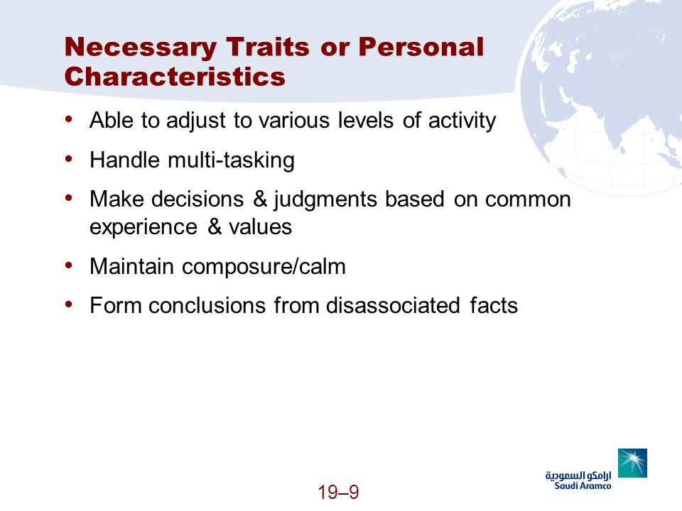 Necessary Traits or Personal Characteristics
