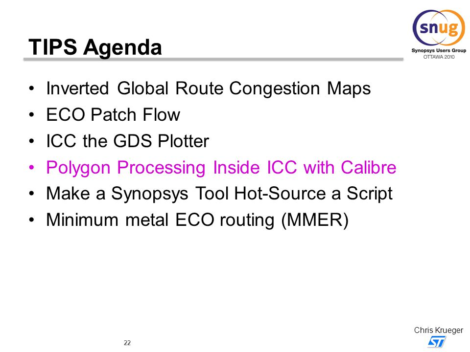 TIPS Agenda Inverted Global Route Congestion Maps ECO Patch Flow