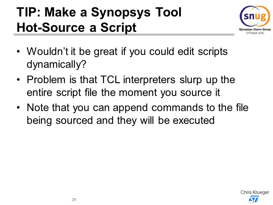TIP: Make a Synopsys Tool Hot-Source a Script