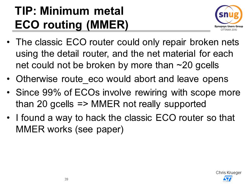 TIP: Minimum metal ECO routing (MMER)
