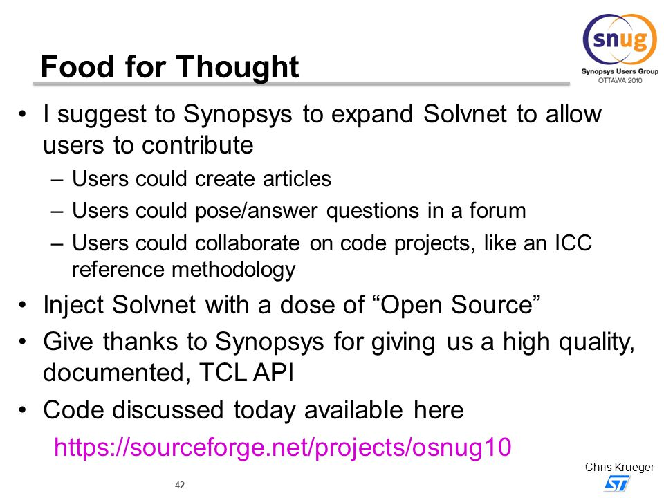 Food for Thought I suggest to Synopsys to expand Solvnet to allow users to contribute. Users could create articles.