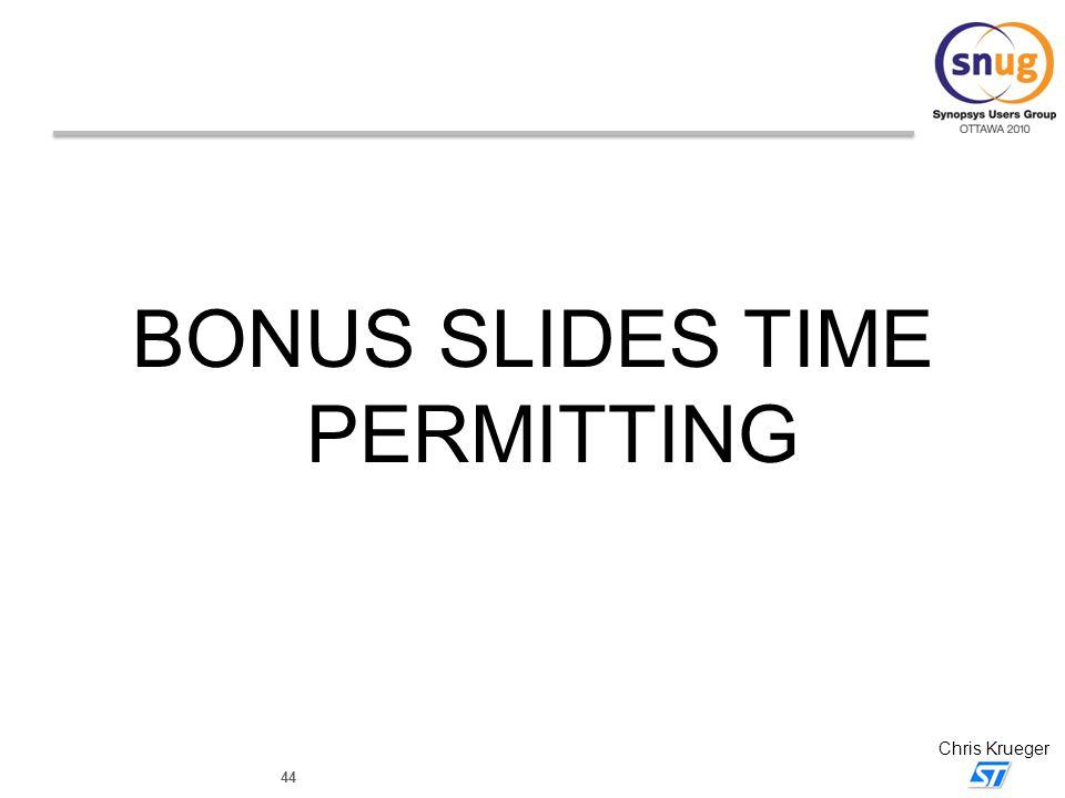 BONUS SLIDES TIME PERMITTING
