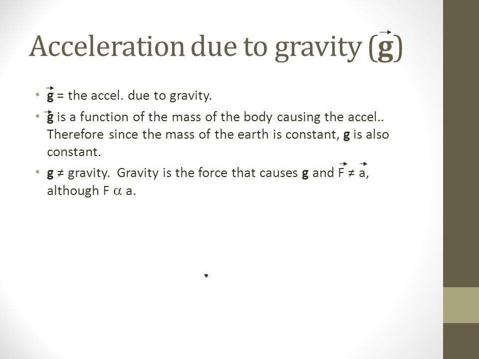 Acceleration due to gravity (g)