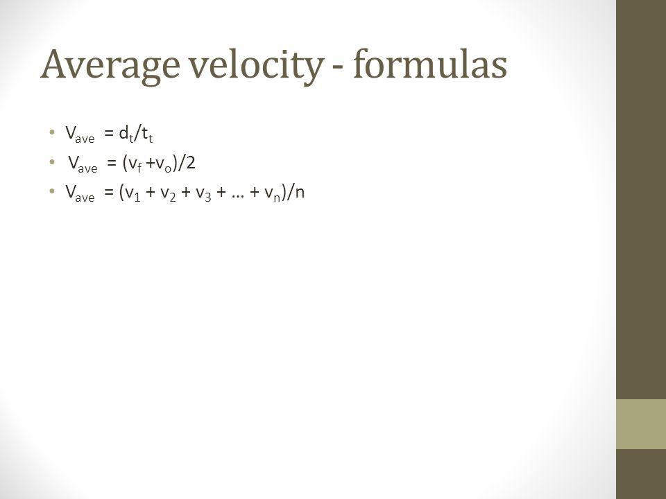 Average velocity - formulas