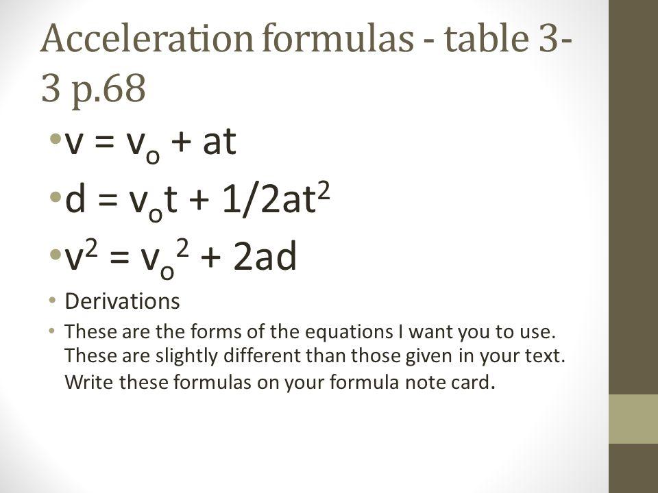 Acceleration formulas - table 3-3 p.68