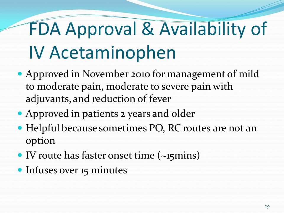 FDA Approval & Availability of IV Acetaminophen