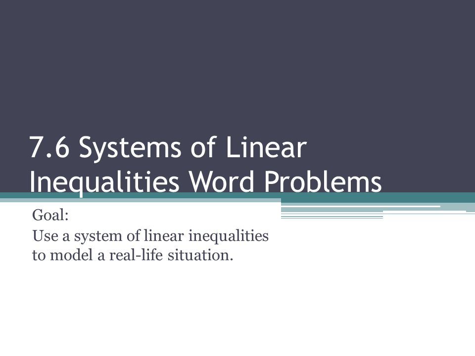 76 Systems of Linear Inequalities Word Problems ppt download – Linear Inequalities Word Problems Worksheet
