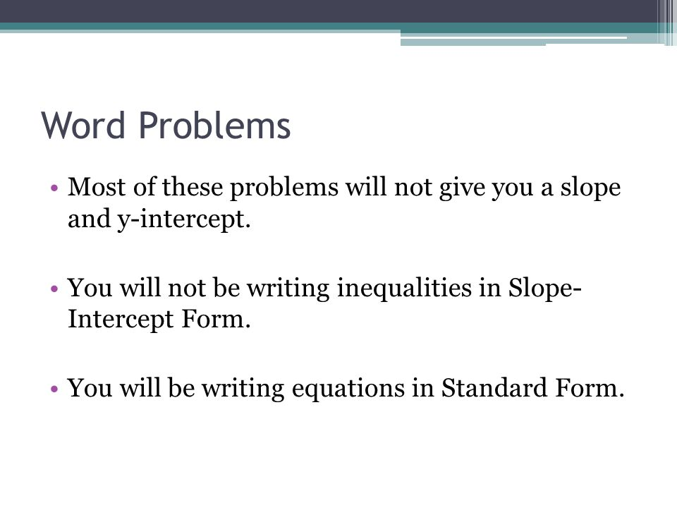 76 Systems of Linear Inequalities Word Problems ppt download – Slope Intercept Word Problems Worksheet