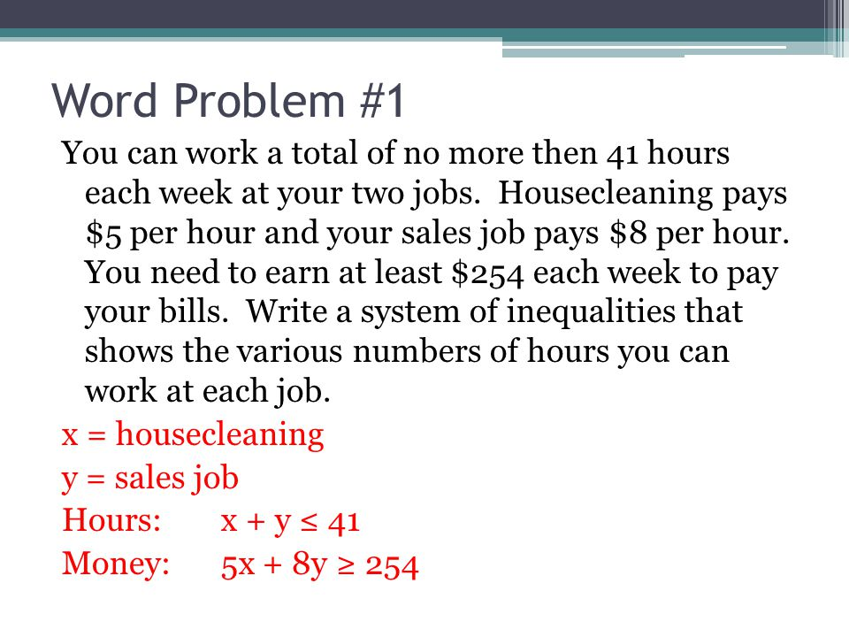76 Systems Of Linear Inequalities Word Problems Ppt Video Online