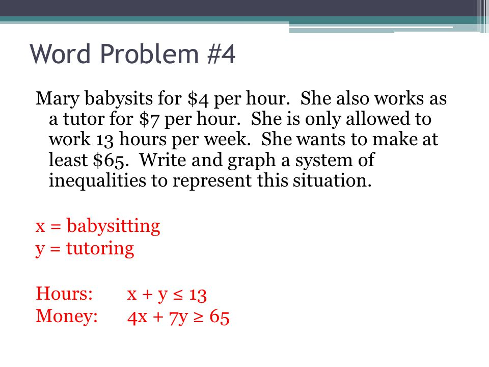 76 Systems of Linear Inequalities Word Problems ppt download – System of Inequalities Word Problems Worksheet
